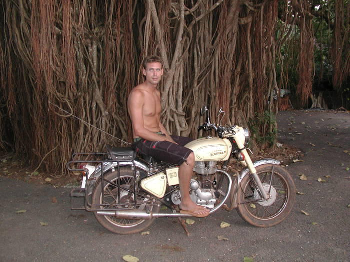 Me on my Enfield, near a great Banyan Tree in northern Goa.