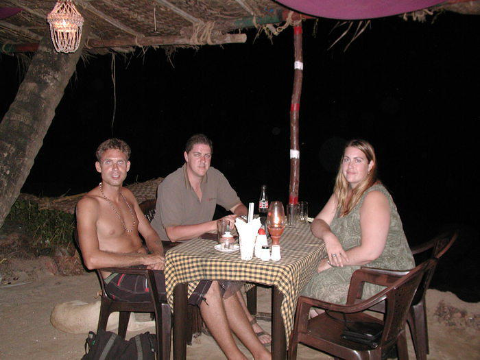 Andrea, Sax and myself at a restauarant along the cliffs near Arambol.