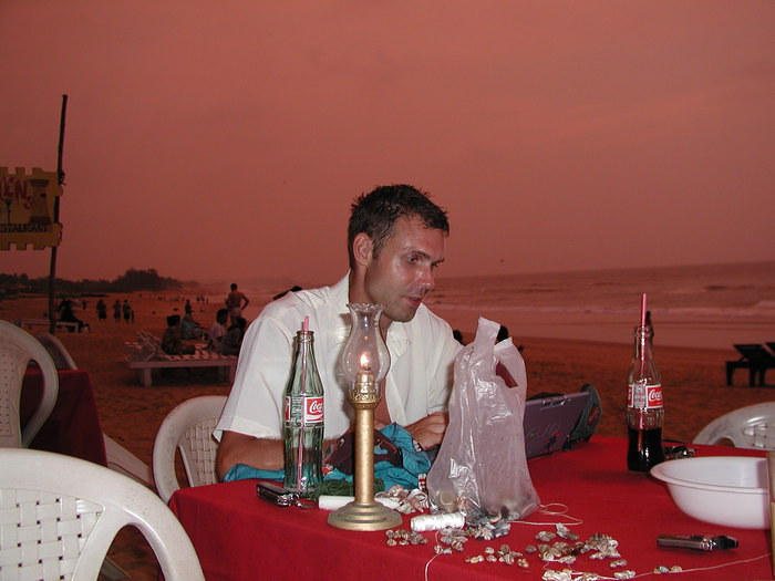 Photo of me at sunset on Baga Beach, Goa, western India. It was a beautiful sunset with natural colours everywhere.