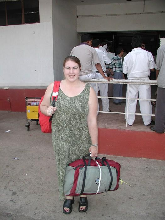 Andrea (my good friend from Canada), arriving at the airport in Goa.