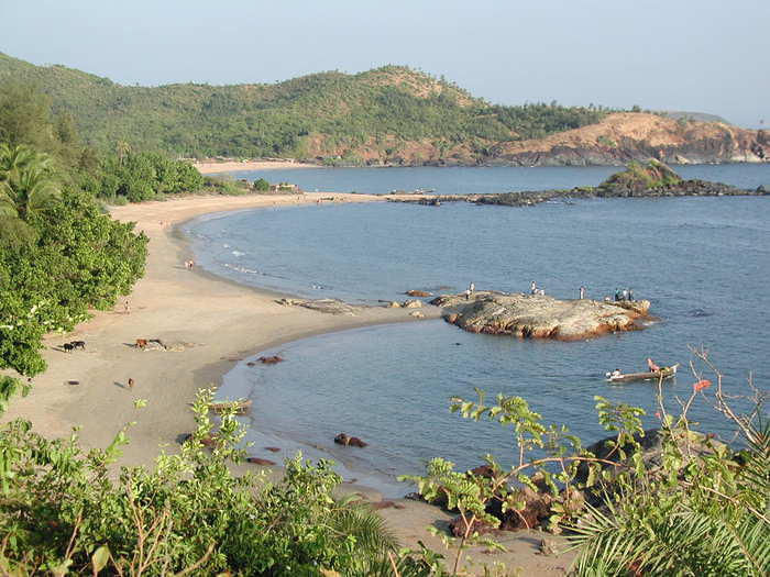 Om Beach, the third beach south of Gokarna, Karnataka. There are several beaches even further south, but this is where I stayed.