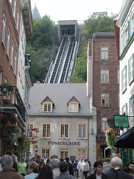 View of the funiculaire, an inclined elevator that costs just $1.50.
