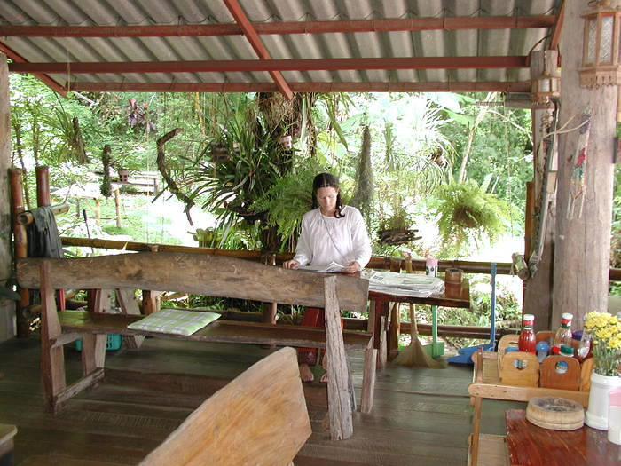 This is the Bamboo Riverside Guesthouse in Chiang Khong, Thailand. Cool place.