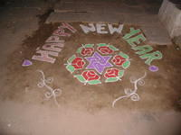 New Year's chalk drawings on the ground in Hampi.