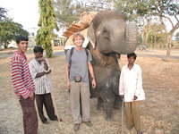 An elephant ride was available. In the red shirt is Malik from Mysore, whom I was traveling with along with a guy from Belgium.