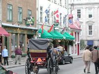 Horse-drawn carriages are available.